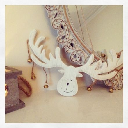 50% off Cream Wood Hanging Moose Head With Bells